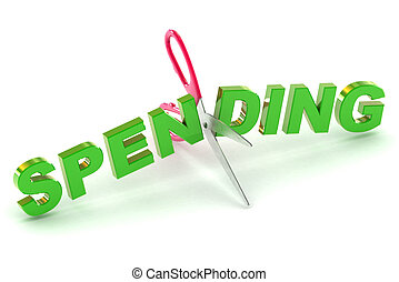 Cutting Spending - A Colourful 3d Rendered Cutting Spending...