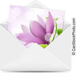 Open White Envelope With Flowers Card