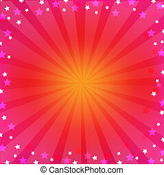 Pink Colorful Background With Sunburst, With Gradient Mesh,...