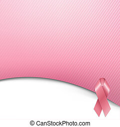 Pink Ribbon With Gradient Mesh, Vector Illustration