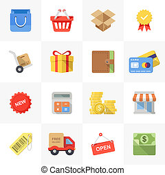 Shopping icons - Vector set of modern flat and colorful...