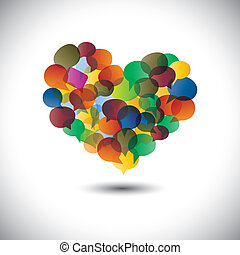 Colorful chat icons & speech bubbles as love symbol- concept vector. This graphic represents student community, social media communication or online chats and dialogs, discussions, etc