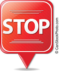Sign Stop With Gradient Mesh, Vector Illustration