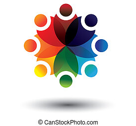 Concept vector of colorful kids learning in school in circle...