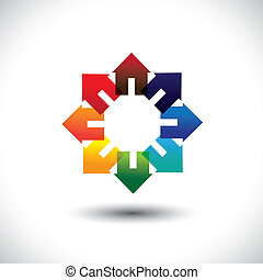 Concept vector of construction industry - circle of colorful...