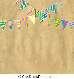 Vintage Paper And Bunting Flags, Vector Illustration