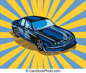 Ford GT Car Retro - Illustration of blue Ford GT car done in...