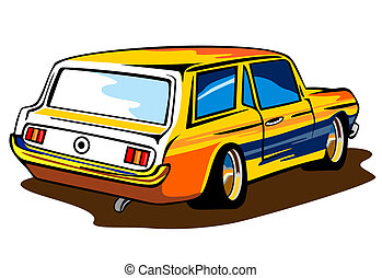Ford Mustang Station Wagon Retro - Illustration of a yellow...