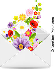White Envelope With Flowers