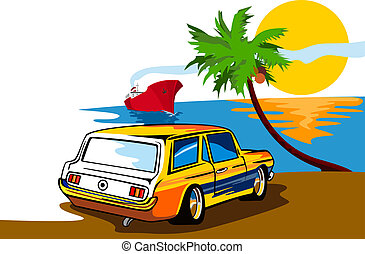 Ford Mustang Station Wagon Beach - Illustration of a yellow...