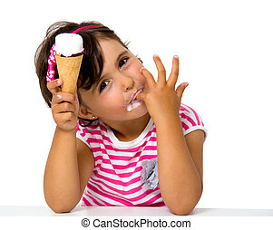 little girl eating ice cream isolated on white