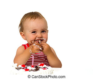 baby with birthday cake