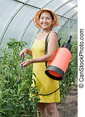 woman spraying  plant in hothouse