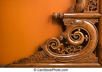 Ornate wooden carving. - Ornate wooden Asian furniture...