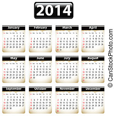 2014 English calendar - Calendar for 2014 year with torn...
