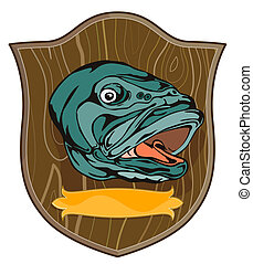 Largemouth Bass on shield - illustration of a largemouth...