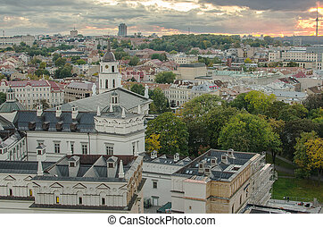 Autumn in Old Town of Vilnius, Lithuania Birds-eye view