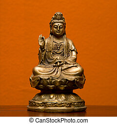 Hindu statue. - Hindu statue of Kuan Eim, Goddess of mercy...