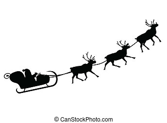 Santa Claus driving in a sledge (Vector illustration)