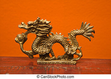 Chinese dragon statue. - Chinese Taoist wisdom brass dragon...
