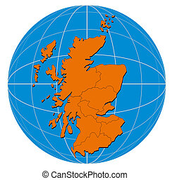 Globe Scotland Map - Illustration of a globe with the map of...