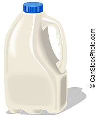 Milk Bottle - Illustration of a milk bottle with blue lid...