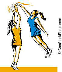 Netball Player Shooting Blocked - illustration of a netball...
