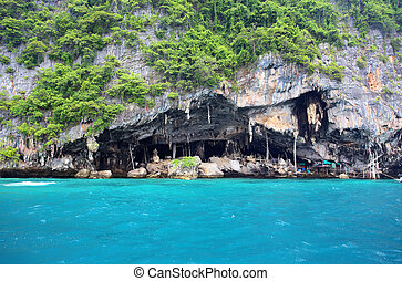 Viking cave - place of birds nest collection Thailand