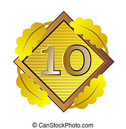 Number 10 in Diamond - Illustration of the number ten 10 set...