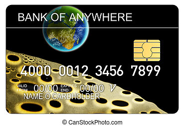 Credit Card - Illustration of a credit card with chip earth...