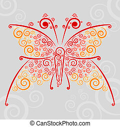 Abstract url techno-butterfly - Abstract techno flourishes...