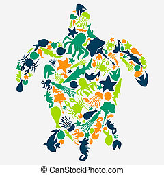 Vector illustration of turtles - Stock turtles made ??up of...