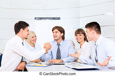 businesspeople office - businesspeople group smile working...