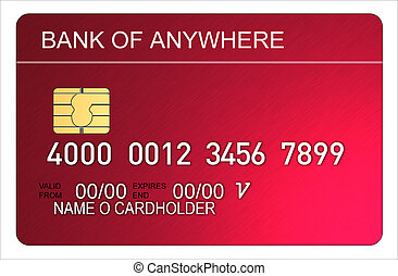 Credit Card - Illustration of red metallic credit card with...