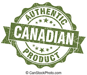 Canadian product green grunge stamp