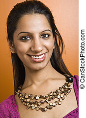 Pretty smiling woman - Attractive young adult Indian woman...
