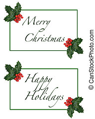 Merry Christmas Happy Holidays Card with Holly