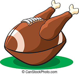 Thanksgiving Football - Vector illustration of a...