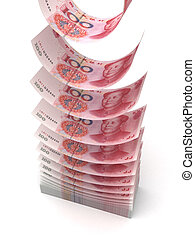 Flying Yuan isolated with clipping path