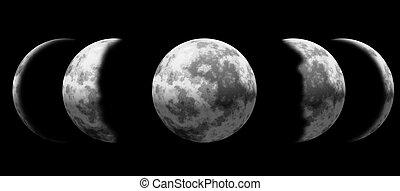 Moon Phase - Illustration of moon phase set on black...