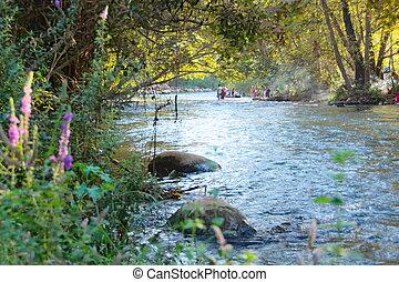 Jordan River - Jordan River at the Hazbani, one of the...