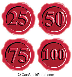 Number Icon Seal Wax - Illustration of number icon in red...