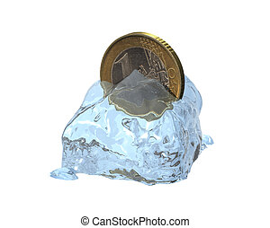 3d euro coin in a melted ice cube