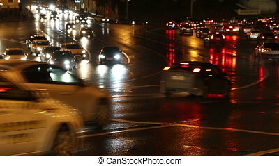 evening car traffic at rush hour in moscow - timelapse