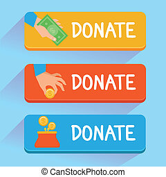Vector donate concept - hand and money - set of buttons in...