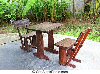 Outdoor chair in the garden