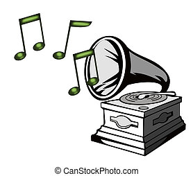Phonograph with Treble Clef - Illustration of a phonograph...