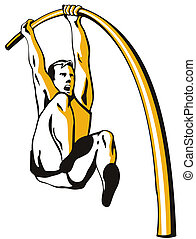 Pole Vault - Illustration of an athlete pole vault isolated...