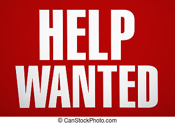Help wanted sign. - Red help wanted sign.