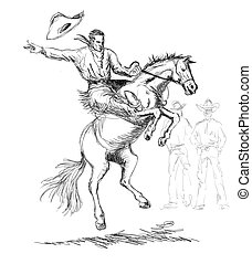 Rodeo Cowboy Riding Horse - Illustration of rodeo cowboy...